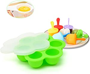 KeepingcooX Silicone Egg Bites Molds with Lid for Instant Pot Accessories with Non-Stick Popsicle Ice Pop Maker including 7 Reusable Plastic Sticks, fit for 3/5/6/8 Quart Pressure Cooker