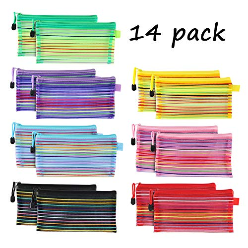 A6 Zipper Mesh Pouch, SEEOOR Colorful Pencil Pen Bag Document Bag Storage Pouch for Travel Cosmetics Makeup, Offices Supplies, Travel Accessories (14 Pieces)