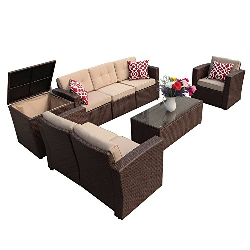 Super Patio Patio Furniture Set, 8 Piece Outdoor Wicker Sectional Sofa Outdoor Furniture with Storage Table, Beige Cushions, Three Red Pillows, Brown Wicker