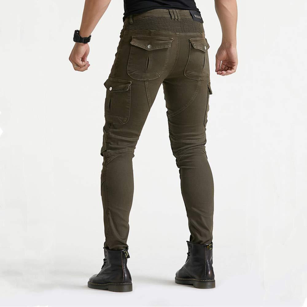LINGKY Pantaloni Da Moto Jeans In Denim Per Motociclismo Con Armatura E 4 Ginocchiere Per Uomo Nero,S