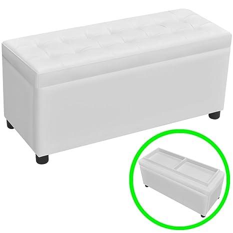 Cassapanca Moderna Imbottita.Luckyfu Questa Cassapanca In Pelle Artificiale Bianco Con