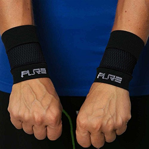 Wrist Sleeve - Lightweight Compression Wrist Support, Carpal Tunnel, Repetitive Use Injuries, Relieve Wrist Pain (M, Solid Black) by Pure Compression
