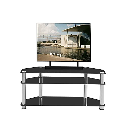 Huberon Black Tempered Glass Stainless Steel Frame 3-Tier Floor TV Stand for Multiple Media Devices, for TV Xbox,Ps4, Media Componet