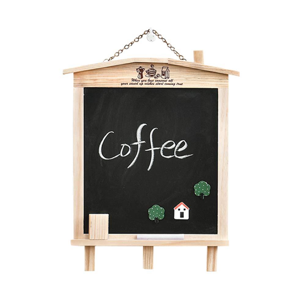 LIANGJUN Message Board Chalkboards Signs Solid Wood Hanging Bracket Coffee Shop Bar Sketchpad (Color : A, Size : 27x35cm) by LIANGJUN-lyj (Image #1)