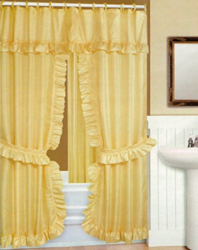 Amazon Double Swag Shower Curtain With Liner Set Gold 70x72