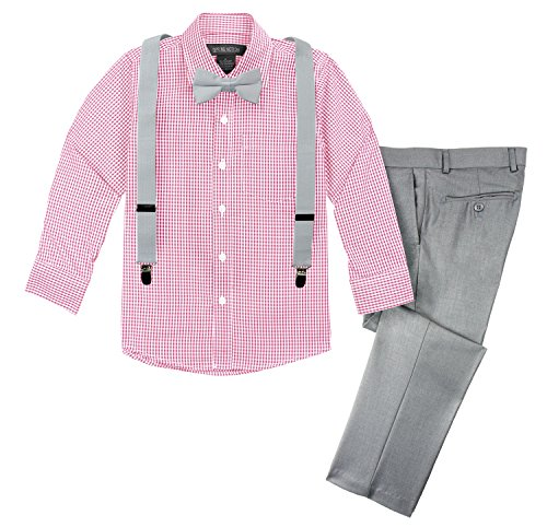 Spring Notion Boys' 4-Piece Suspenders Outfits Spring Collection 10 Light Grey/Lemonade Pink
