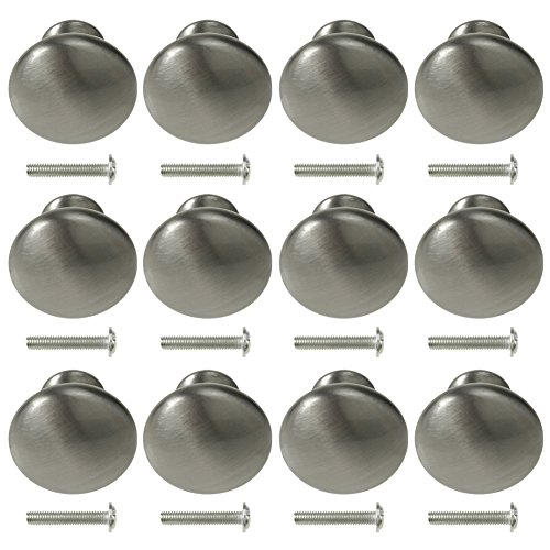 Kitchen Cabinet Knobs 12 Pack Satin Nickel Round Mushroom Cupboard Furniture Knobs Pulls szrdt (Round Nickel Drawer Pulls)
