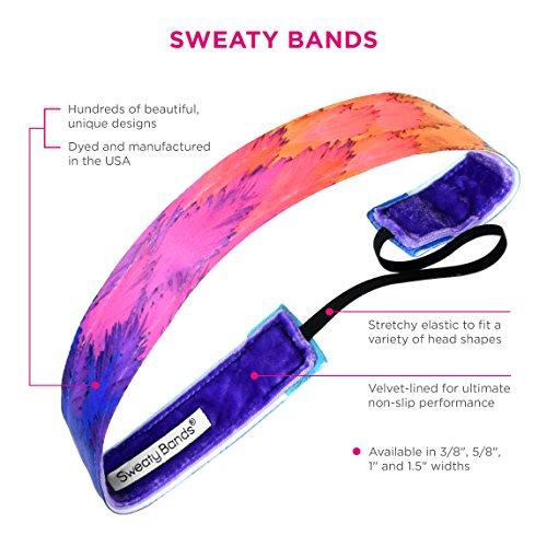 Sweaty Bands Womens Girls Headband - Non-Slip Velvet-Lined Workout Hairband - Turbulence 1-Inch by Sweaty Bands (Image #3)