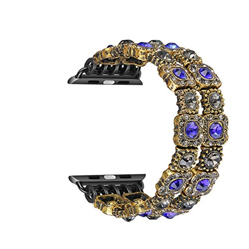 Solomo Strap Compatible for Apple Watch Band, Retro Faux Crystal Agate Stone Bracelet Replacement Women Girls Like with Handmade Elastic Stretch for iWatch Series 4 Series 3/2 / 1 (38MM / 40MM Blue)