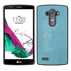 LECELL--Funda protectora / Cubierta / Piel For LG G4 -- azul mente corazón te amo cartel de bebé --