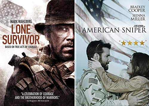 True American Acts of Courage: Lone Survivor & American Sniper Double Feature 2-DVD Movie Bundle (Lone Survivor American Sniper)