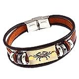 Wintefei Constellations Zodiac Unisex Retro Wooden Beads Faux Leather Bracelet Bangle - Cancer