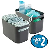 mDesign Bathroom Under Vanity Cabinet Organizer Bin for Beauty Products, Lotion, Perfume - Pack of 2, Slate