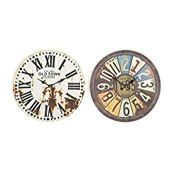 Woodland Imports 52540 Prepossessing 2 Assorted Metal Wall Clock