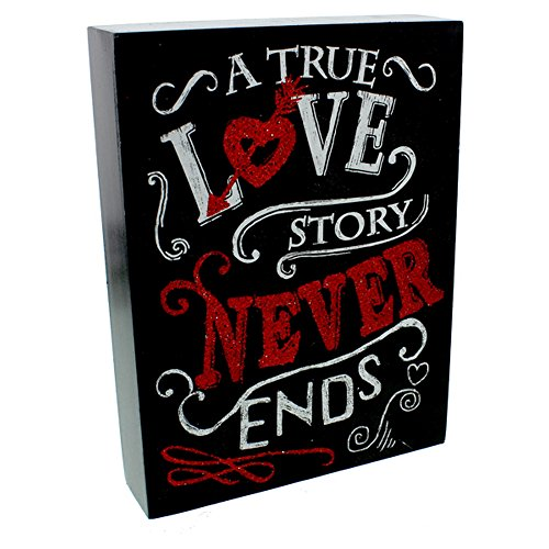 Signography By Juliana A True Love Story Never Ends Mantel Plaque (One Size) (Black/Red) -