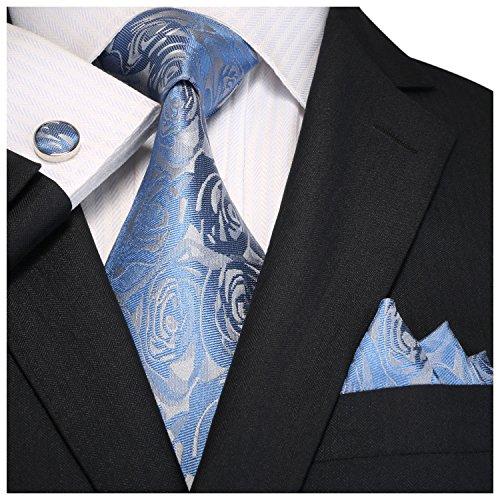 Light Blue Floral Pattern (Landisun Mens Silk Neck Tie Set Rose Floral Pattern 18A92 Light Blue Grey)