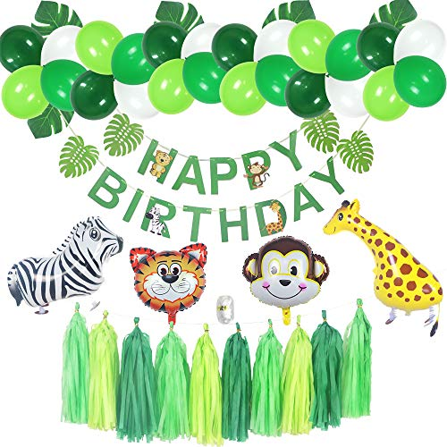 Jungle 1st Birthday Boy Decorations, Boy Birthday Decorations, Happy Birthday Banner, Walking Animals Balloons, Safari Theme Party Decor Kit, Playroom Decoration -