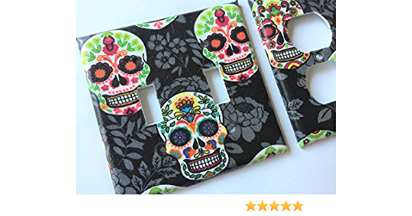 Sugar Skull Light Switch Cover Day Of The Dead Various Size Light Switchplates Offered Handmade Amazon Com