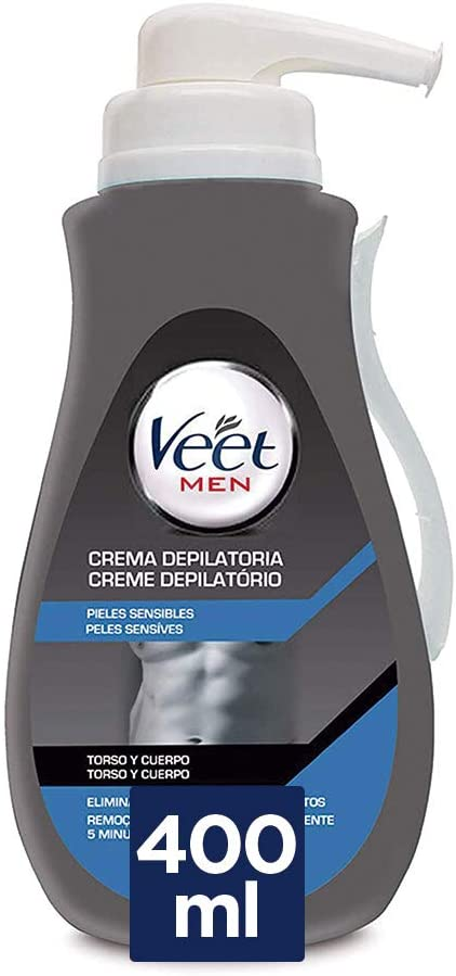 Veet Veet For Men Crema Depilatoria Corporal Para Hombre, Piel Sensible, 400 Ml 400 Unidades 490 g