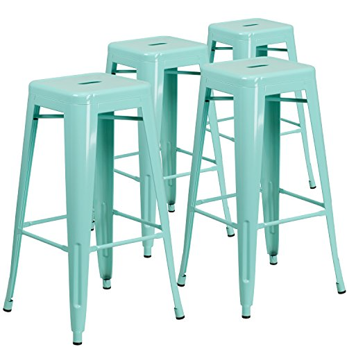 Color Bar Green - Flash Furniture 4-ET-BT3503-30-MINT-GG 30'' High Backless Mint Green Indoor-Outdoor Barstool, 4 Pack