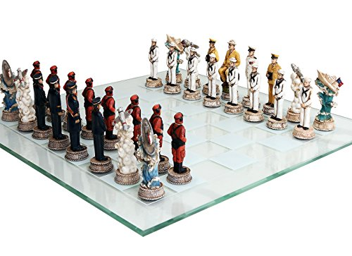 World War 2 Themed Battle of Pearl Harbor Chess Set US vs Japan Hand Painted with Glass - Themed Piece War Chess