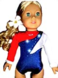 Fits American Girl 18 inch Dolls | USA Olympic Gymnastics Outfit Leotard and Hair Accessory | (2 Piece Set) by Doll Connections