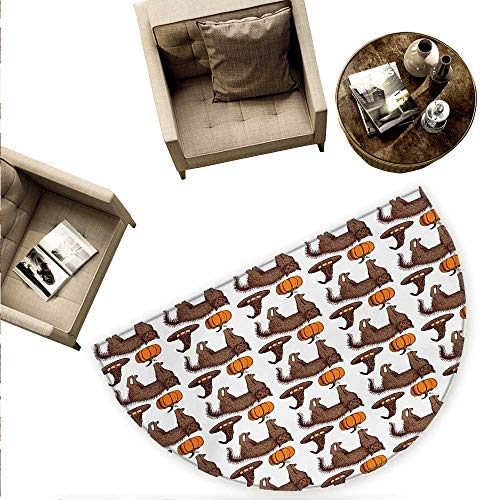 (Halloween Semicircular Cushion Seasonal Vintage Pattern with Pumpkin Squash Witch Hats and Cat Figures Entry Door Mat H 78.7