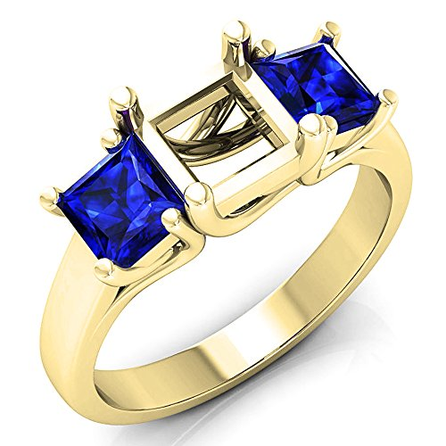 1.40 Carat (ctw) 14K Yellow Gold Princess Blue Genuine Sapphire Semi Mount Bridal Engagement Ring