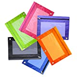 6Pcs Zippered Pencil Pouches with 3-Ring Clear Window Office Assorted (Red, Black, Green, Blue, Yellow, Purple)
