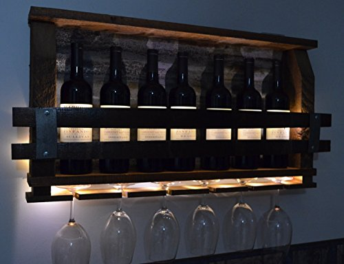 Lighted - Barn wood wine rack by Barrels & Barn Wood