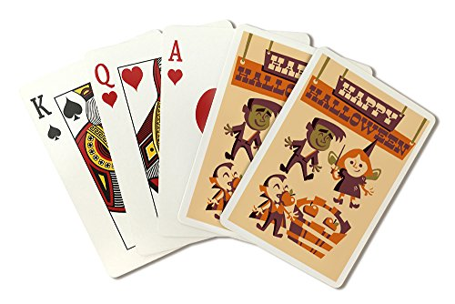 Apple Bobbing - Retro Halloween (Playing Card Deck - 52 Card Poker Size with Jokers)