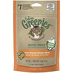 FELINE GREENIES Dental Cat Treats Oven Roasted Chicken Flavor, 2.5 oz. Pouch