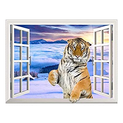 Removable Wall Sticker/Wall Mural - A Standing Tiger with a Paw on The Windowsill | Creative Window View Wall Decor - 36