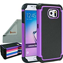 Rasfox® Samsung Galaxy S6 Case Cover, Shock-Proof Tough Heavy-Duty Protective Armor Case Skin Cover For Samsung Galaxy S6 (Not Fit For S6 Edge) (Black/Purple)