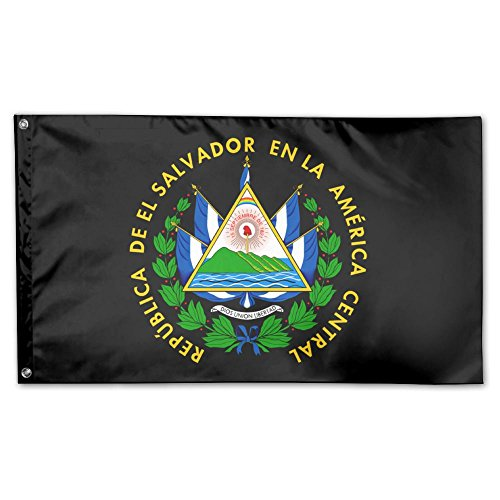 UDSNIS El Salvador Coat Of Arms Garden Flag 3 X 5 Flag For House Decorative Banner Black