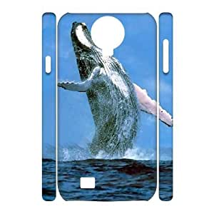 3D [Whale] Whale in the Sea Case for Samsung Galaxy S4, Samsung Galaxy S4 Case {White}