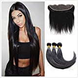 JinXiu Hair 8a Grade Malaysian Straight Hair With Closure 100% Unprocessed Frontal With Bundles Top Quality Human Hair Extensions Natural Color (16 18 20 +14 frontal) For Sale
