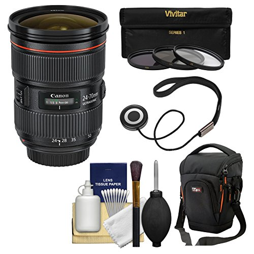 Canon EF 24-70mm f/2.8 L II USM Zoom Lens with Case + 3 UV/C