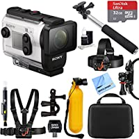 Sony HDR-AS300R HD Wi-Fi GPS Action Camera with SteadyShot and Live View Remote Kit + 32GB Outdoor Adventure Mounting Bundle