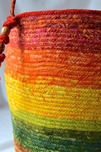 Artisan Gift - Rustic Batik Tote Basket, Gorgeous Batik Tote Bag, Picnic Basket, Gift Basket, Earth Tone Ombre Bin, Towel Holder, Beautiful Knitting Basket