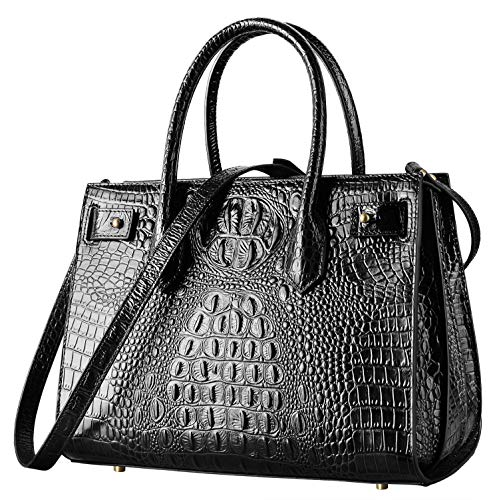 PIFUREN Top handle Leather Handbags for Women Satchel Handbags Designer Crocodile Bags (black)