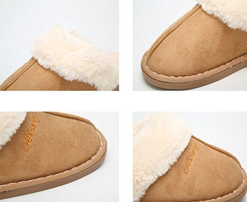 para Zapatillas haloyo interior de On zapatillas Slip para Clog invierno Pantuflas casa el Caqui suave para hombre mujer exterior esponjoso YYxv4q