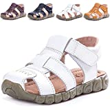 LONSOEN Leather Outdoor Sport Sandals,Fisherman Sandals for Boys(Toddler/Little Kids),White,KSD001 CN24
