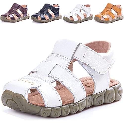 LONSOEN Leather Outdoor Sport Sandals,Fisherman Sandals for Boys(Toddler/Little Kids),White,KSD001 CN27