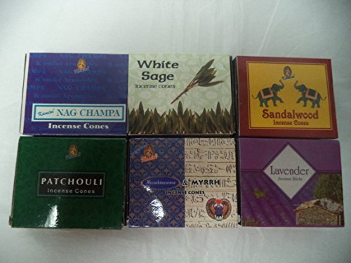 - 6 Assorted Boxes of Kamini Incense Cones, Best Sellers Set #1 6 X 10 (60 total)