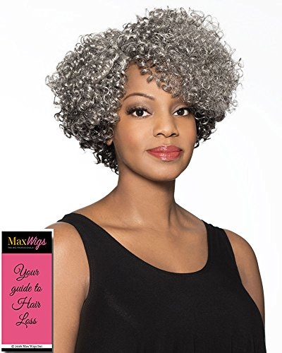 Marjorie Wig Color 3T51 - Foxy Silver Wigs Short Tight Curls Lace Front Synthetic Side Part African American Average Cap Bundle w/MaxWigs Hairloss Booklet -