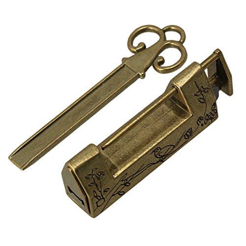 Jewelry Box Drawer Vintage Carved Bird Flower Leaf Padlock Lock with Key ()