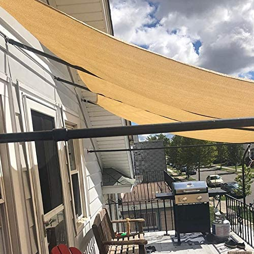 SHADE SPRING Rectangle 20'x20' Sand Sun Shade Sail UV Blocking Canopy 185GSM Awning