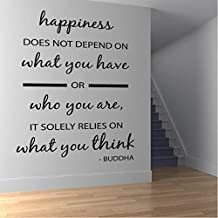 Happiness Wall Sticker Inspirational Buddha Quote Wall Decal Kitchen Home Decor available in 5 Sizes and 25 Colours Large Ivory Beige