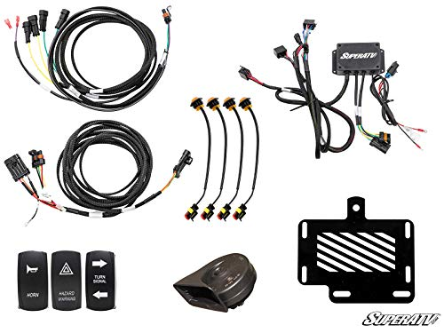 (SuperATV Deluxe Turn Signal Kit for Polaris Ranger Full Size XP 900 / Crew (2013+) With Dash-Mounted Turn Signal Rocker Switch - Plug and Play For Easy Installation!)